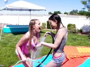 Tight Oiled Ladies In An Inflatable Pool Have A Threesome
