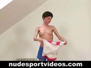 Totally Naked Girl Doing Physical Excercise.