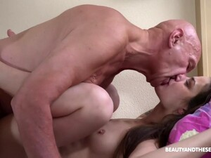 Grandpa Wakes Up Teen With His Cock