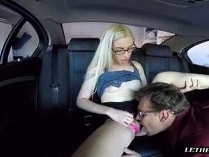 Lewd Four Eyed Chick Lets A Stranger Eat Her Pussy For Cash In His Car