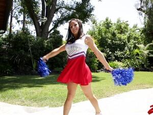 Horny Cheerleader Drops Her Panties And Rides A Rock Hard Dick