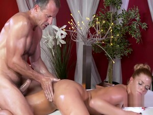 Oiled Redhead Fuck On Massage Table