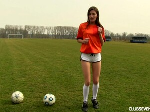 After A Soccer Game This  Naughty Doll Fingers Her Pussy