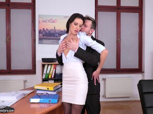 Hot Business Woman Linda Moretti Bends Over For A Fat Dick