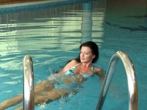 Bikini Clad Brunette Lesbian Enjoys A Swim Before A Hardcore Pussy Licking Action