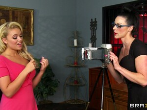 Beautiful Lesbian In Glasses Getting The Pleasure Of Huge Strapon In Closeup Shoot