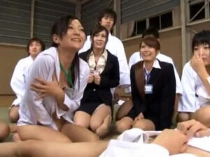 Sexy Japanese Office Babes Get Fucked At Stress Relief Session