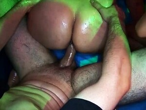 Her First Rough Slippery Party Orgy