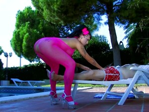 Jenny Loves A Good Striptease Outside By The Pool Especially When Her Man Gets So Hard That They End Up Ass Fucking