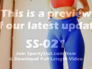 Busty Blonde Teen Working Out In Tight Blue Spandex. Bounce!