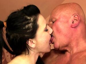 Small Tittied Brunette Chick Sucks Tasty Cock Of Her Bald Nasty Stud