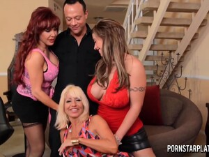 Three Cougars Fuck One Man And Suck His Cock Like Greedy For Cum Bitches