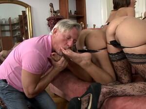 Older Man With A Stiff Dick Fucks Butts Of Cute Alexis Brill & Meg Magic