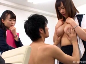 Japanese Babes Share Dick In Class For The Ultimate Trio