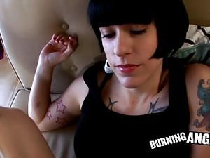 Black Hair Emo Goth Girl Gives A POV Blowjob And Fucks