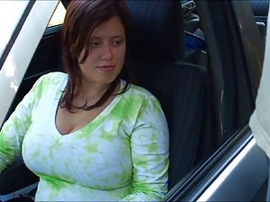 Busty BoobieKat Car Blowjob Through Window