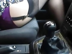 Wife In Car Showing Off