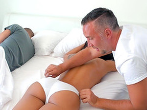 Dirty Slut Amia Miley Fucking On The Same Bed Where Her Hubby Is Sleeping