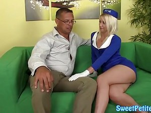 Petite Stewardess Bouncing On Oldmans Cock