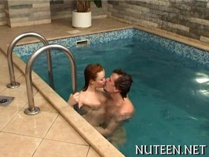Teen Pounding Action In The Pool