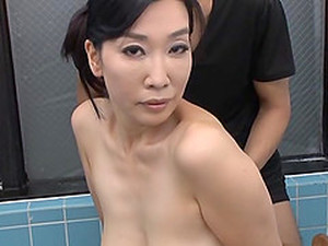 Gotou Chika Sucks A Cock In A Bathroom Before Being Sprayed With Cum