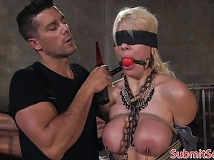 Blindfolded Sub Gagged And Fucked In Pussy