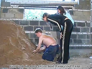 Russian Femdom Duos Torturing Their Hot Slave In Sand