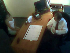 Awesome Steamy Office Sex Caught On Tape With A Gorgeous Brunette
