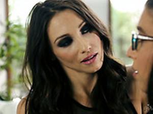 Concupiscent Lesbian Celeste Star Is Eating Tasty Pussy Of Nerdy Brunette