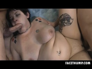 Fat Brunette Luna Panda Gagging On Dudes Chubby Dick