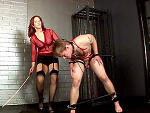 Mini-skirt Clad Cougar With Long Red Hair Spanking A Tattooed Teen