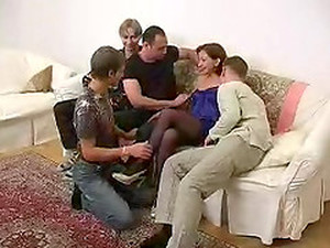 Thigh High Wearing Older Woman Gangbanged And Jizzed On