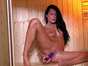 Solo Action In Sauna With Lexi Dona Using Her Favorite Toys