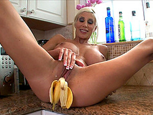 Hardcore Food Fetish Solo Video With Fake-boobed Blond Milf Puma Swede