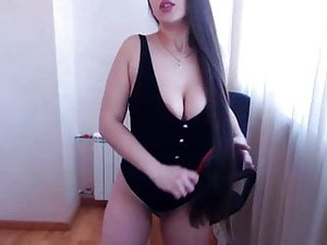 Fantastic Very Long Haired Latina Striptease, Hairplay