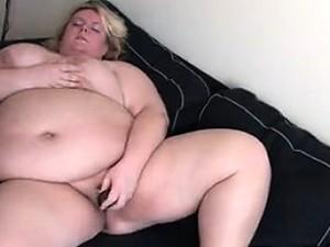Fat Blonde Woman Masturbates At Home