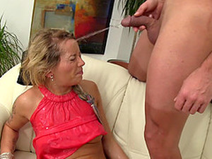 She Gives Him A Blowjob Then He Pisses All Over Her Face