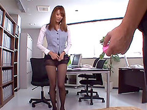 A Cute Japanese Girl Gives A Footjob While Wearing Pantyhose