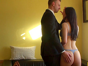Brunette Slut Takes Off Her Panties And Bra For A Sleazy Dude