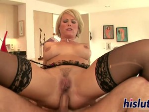 A Ravishing Blonde Milf Wearing Sexy Lingerie Is Getting Her Tight Anal Filled With A Stiff Prick