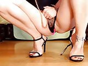 Beautiful Black Sandals + Feet & Pussy Show