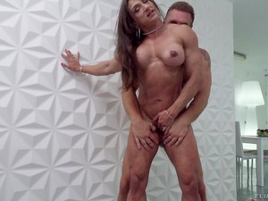 Muscular Brunette Latina MILF Karyn Bayres Sodomized By Three Cocks
