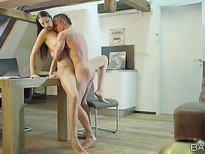 Tall Brunette Beauty And Her Man Fucking At Home