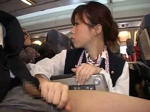 Stewardess Forced Handjob In Plane