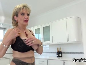 Unfaithful British Mature Lady Sonia Flashes Her Heavy Balloons