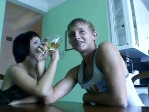 Dude Seduces Brunette To Fuck On Table