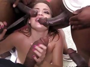 Horny White Bitch Ashlynn Leigh Bangs With Many Black Thugs