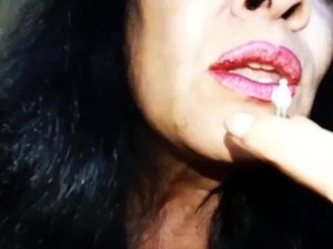 Giantess Applying Red Lipstick & Getting High With Tiny.