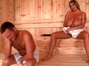 Fantastic Chubby Bitch With Huge Tits Gets Fucked In The Sauna