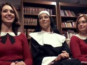 Sexy Nun Dominates Two Sexy Babes In School Uniform
